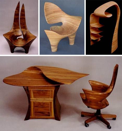 From start to finish, the process wood craftsman David Delthon uses to sculpt and carve his furniture creations shows a curious evolution from wooden craft to artist carving. He starts out with large-scale layered wood blocks of the approximate shape he is ultimately aiming for and slowly trims it down with increasingly refined tools until he is hand-sanding, polishing and finishing a piece