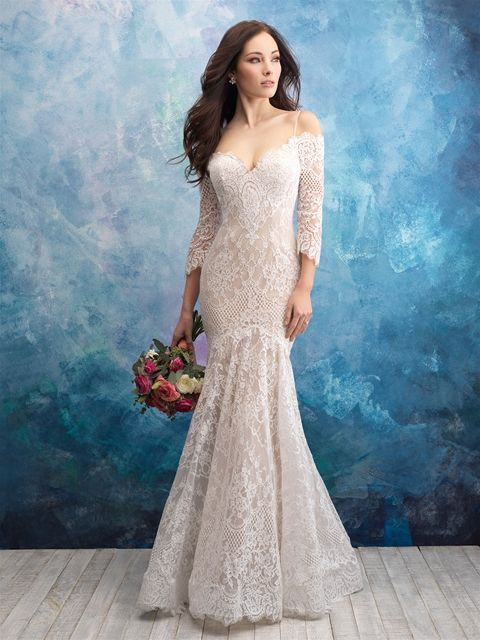 Off The Shoulder Lace Fit And Flare Wedding Dress