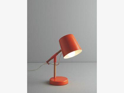 PEETA Orange metal and wood desk lamp