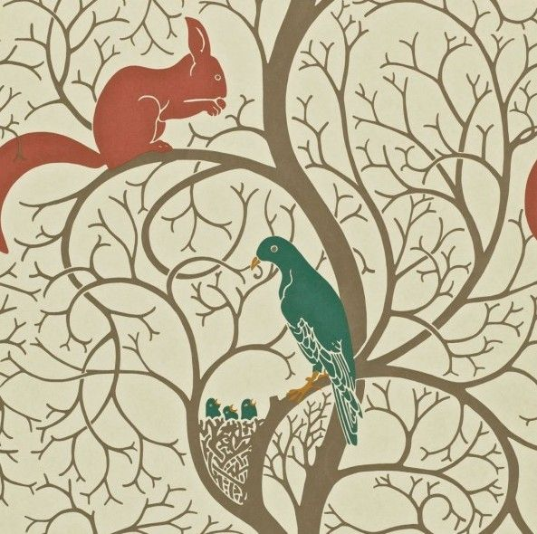Squirrel & Dove Teal/Red