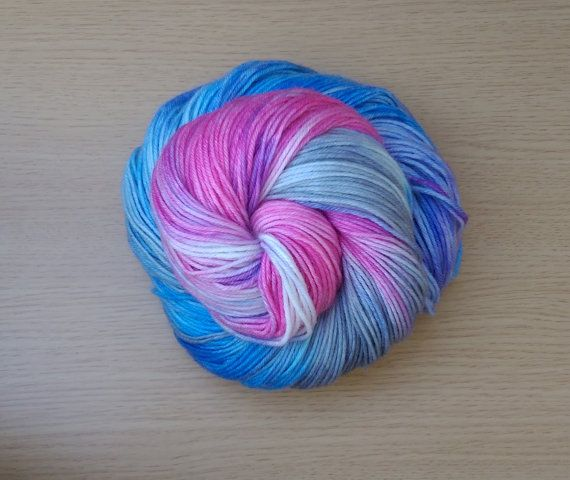 Ready to ship!  Colorway - (pink, grey, baby blue )  4-ply fingering weight yarn…