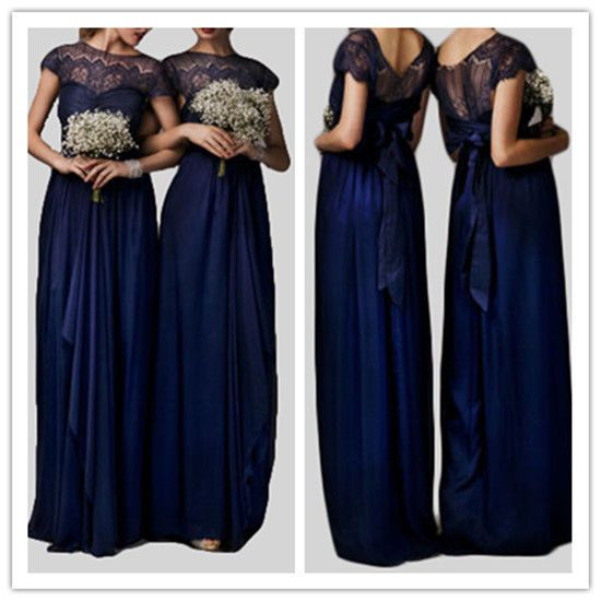 Azul Marino Scoop Encaje Chiffon Largo Boda Vestido De Fiesta Bridesmaids Vestido Formal in Ropa, calzado y accesorios, Ropa de boda y formal, Damas de honor y vestidos formales | eBay