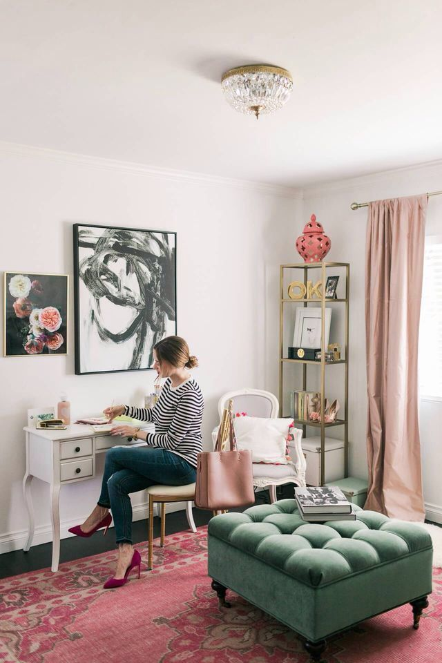If You Love Pink And Green Then This Is The Home Office For