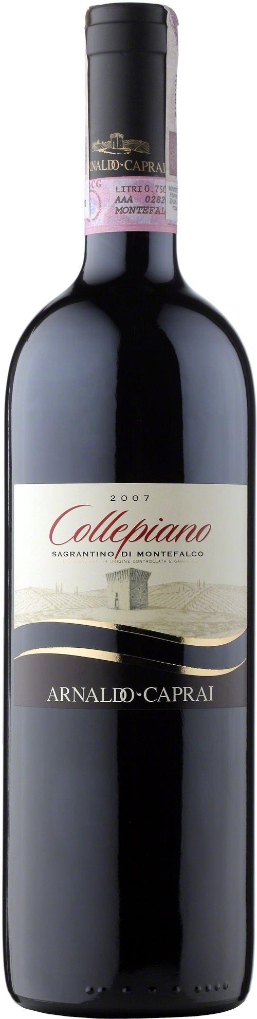 Sagrantino di Montefalco Collepiano D.O.C.G. Wino o gęstym prawie czarno-rubinowym kolorze. Rewelacyjnie aromatyczne, intensywne z nutami dojrzałych owoców, z nutami przypraw, a także pełne aromatów wanilli. W smaku mocne, ale zarazem miękkie i aksamitne z gorzkawym posmakiem. Najlepiej jest je podawać z pieczeniami mięsnymi i dziczyzną. #Sagrantino #Montefalco #Collepiano #ArnaldoCaprai #Umbria #Włochy #Wino #Winezja