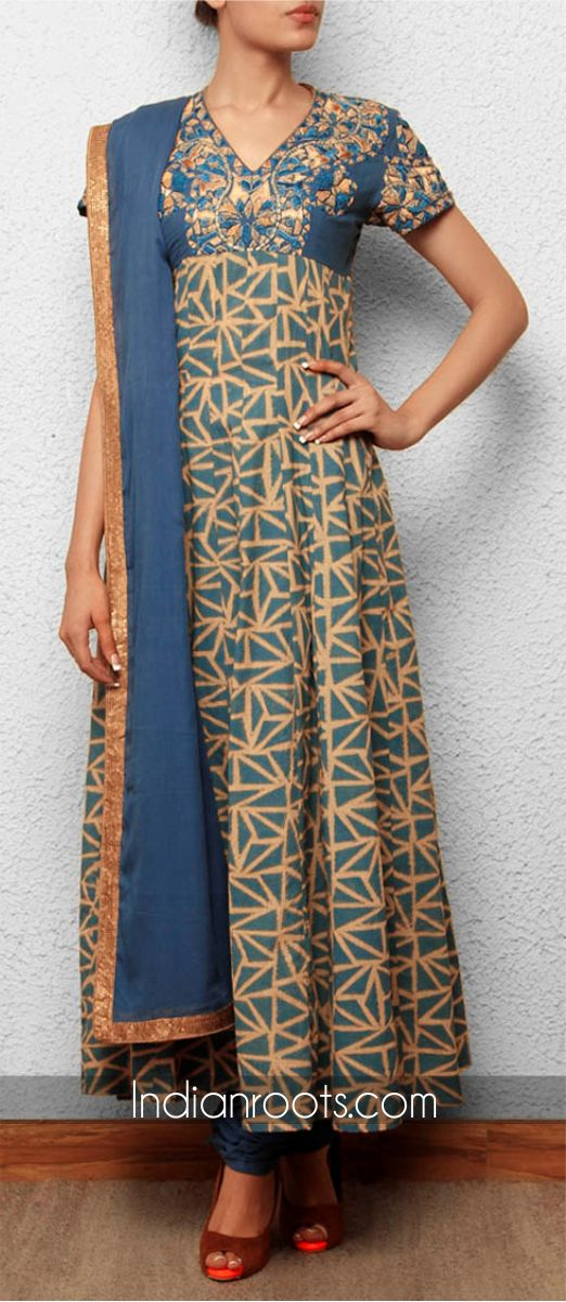 Blue kora cotton churidar suit featuring triangle print by Debarun on Indianroots.com