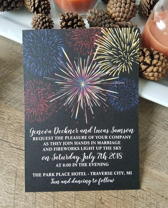Fireworks Wedding Invitation Fireworks Sky Printed #fireworks #wedding