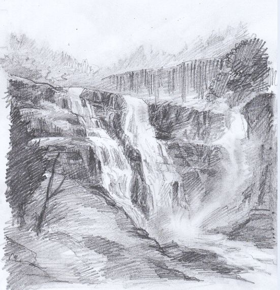 sketches of waterfalls - Google Search | Landscape ...