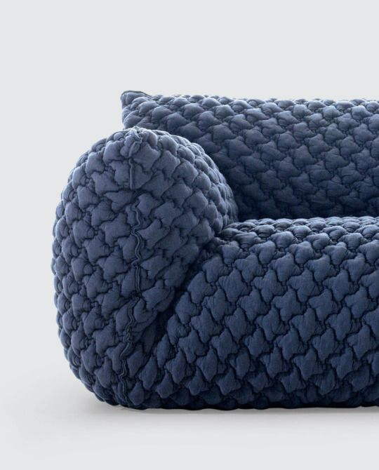 textured bluegrey sofa is a both plush and