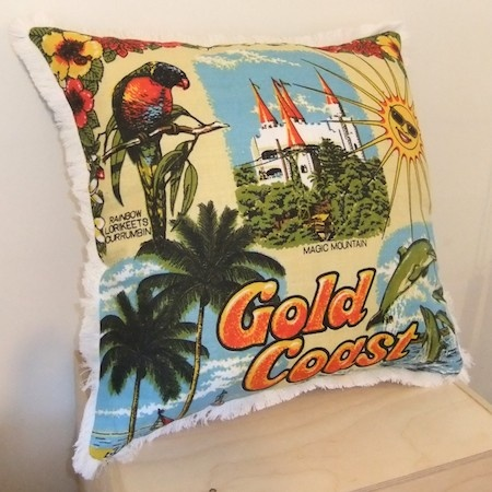 Vintage Tea Towel Cushion Cover - Gold Coast - SWING design