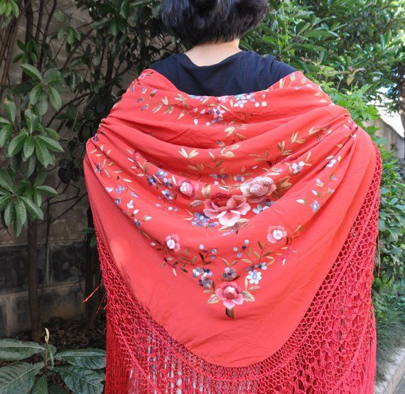 52fa95f559e Hand embroidered spanish silk flamenco piano shawl, dance wear ...