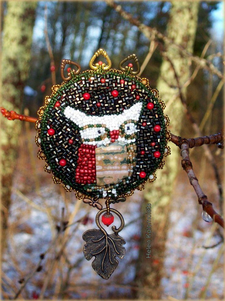 """Helen Kolomoiets. Brooch """"The Order of the forest owls"""". Embroidery beaded. Елена Коломоец. Брошь ''Орден лесной совы''. Вышивка бисером. #ЕленаКоломоец #вышивкабисером #брошьсова #эксклюзив #впродаже.  #handmadejewelry #beadedjewelry  #beadedembroidery #beadedpin #beadedbrooch #brooch #broochowl #embroideryart #handycraft  #youcanbuy #nowilveinsweden #shippingfromsweden #kolomoietshelen"""