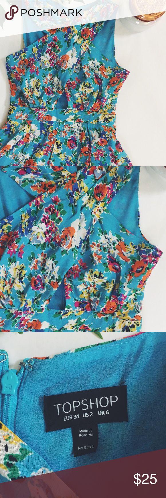 Topshop shorts romper Flower print with flows shorts bottom Topshop Shorts
