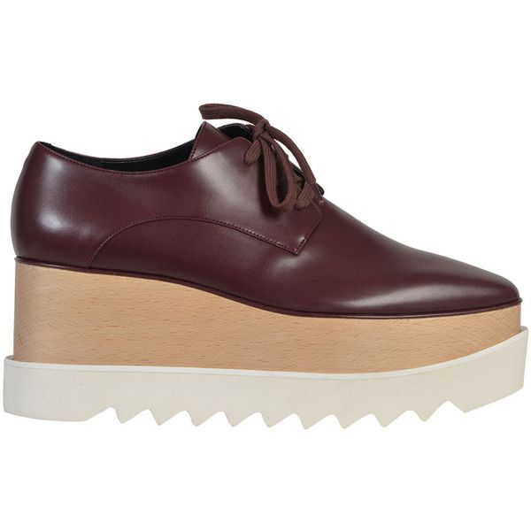 Stella McCartney Shoes (12 945 UAH) ❤ liked on Polyvore featuring shoes, bordeaux, stella mccartney shoes, wood shoes, wooden wedges shoes, wedges shoes and wedge heel shoes