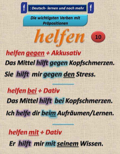 Duits - Deutsch - helfen - Kasus - naamval - Präpositionen - voorzetsels