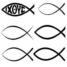 Religious and Christian Shapes Set for Photoshop and Elements: Christian Fish Shapes