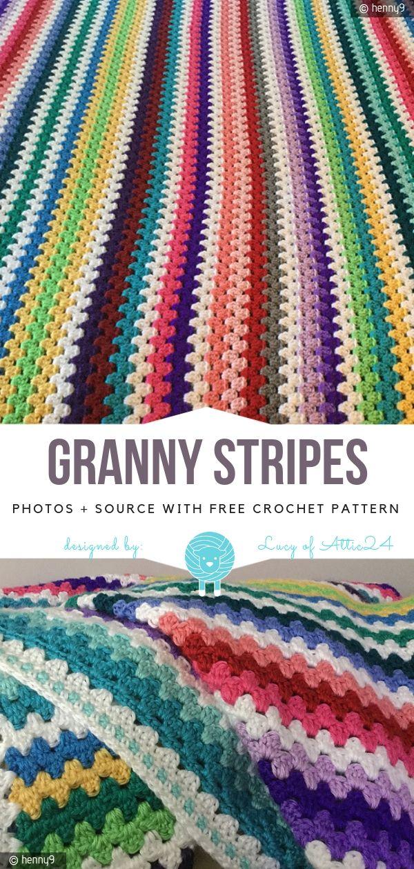 Granny Stripes Blanket Free Crochet Pattern
