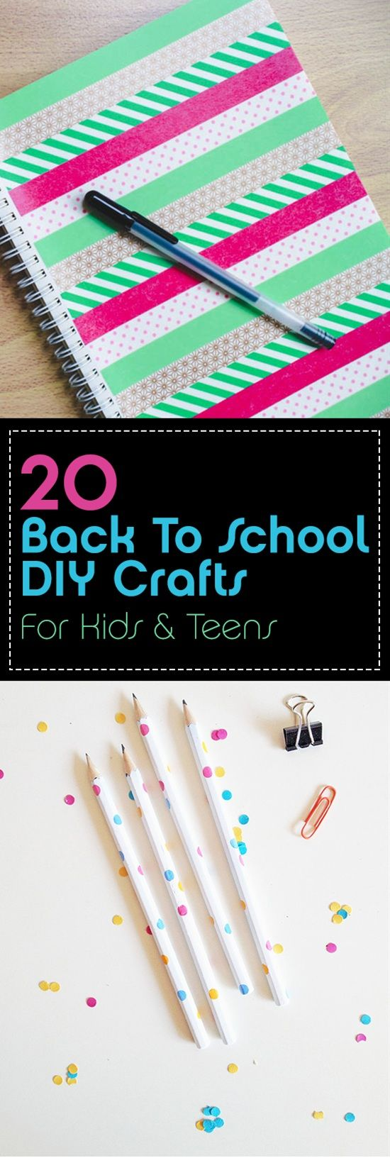 With school just around the corner, getting all school supplies for your kids And teens is your priority. That's a good opportunity to work on some craft projects and have fun with your children. These awesome 20 projects are fun and easy to complete, it will also save you some money.