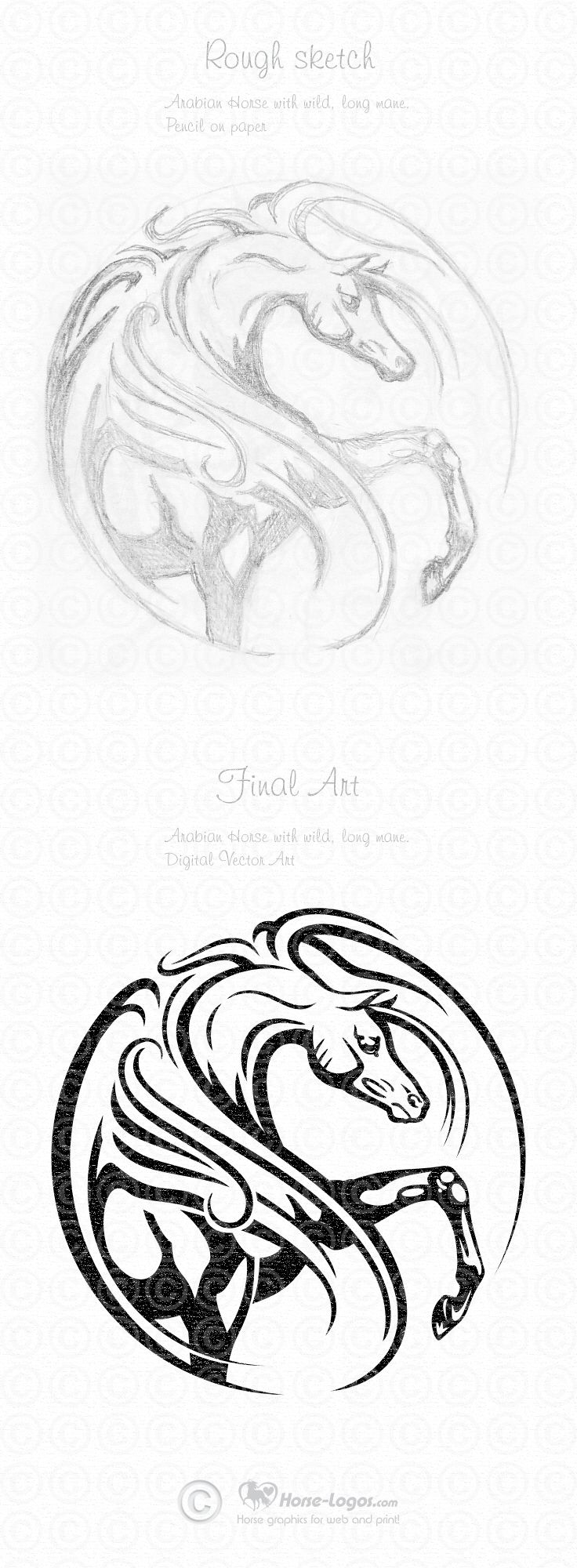 Arabian Horse Graphic Art Design by Joni Solis of Horse-Logos.com   Final art…