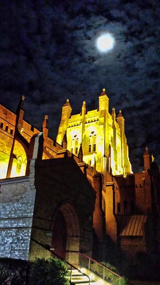 Full moon over Christ Church Cathedral - Newcastle NSW