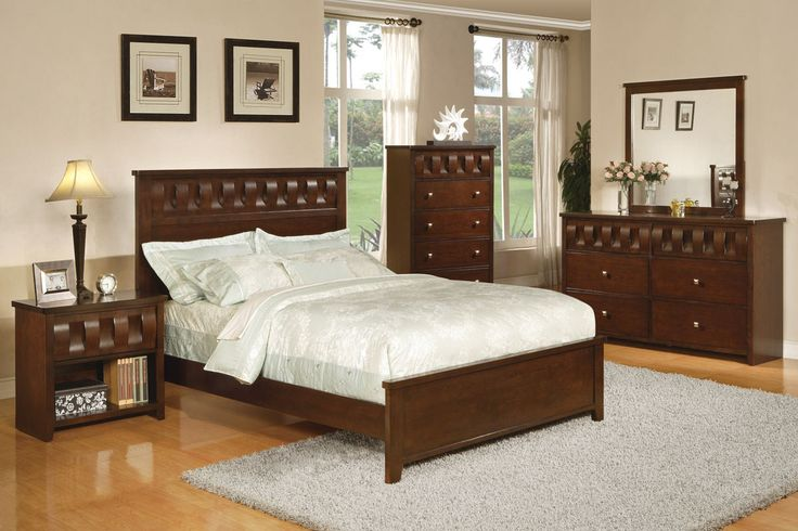 5 pc Pendleton collection medium brown finish wood ribbon design headboard bed set