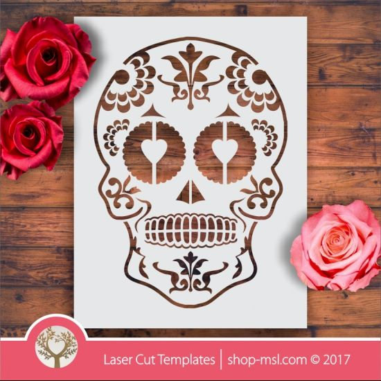 Product Sugar skull laser stencil cut template. shop online for vector patterns, free designs every day. Sugar Skull Stencil 02 @ shop-msl.com