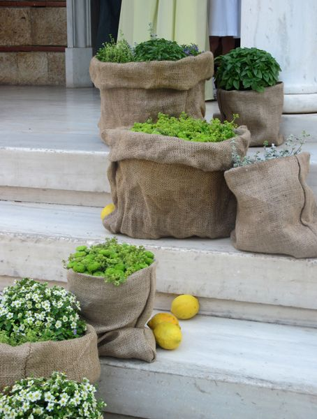 ::Aisle decoration with herbs & seasonal plants in burlap purses