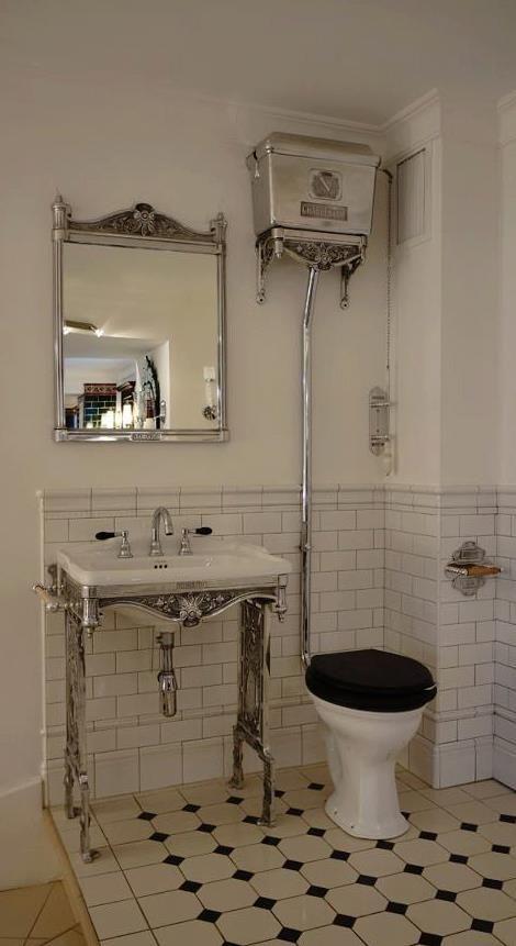 Chadder & Co. Blenheim High Level Toilet Cistern and Chadder Blenheim Mirror above the Blenheim basin on polished frame.