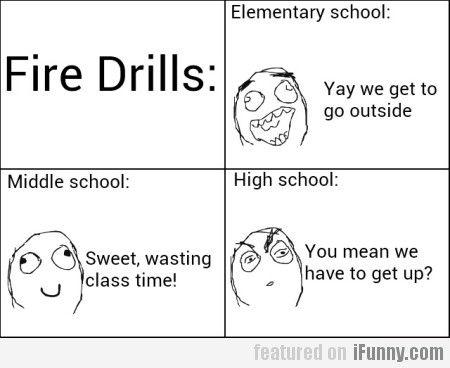 Fire Drills. been through elementry school:so true. almost through middle school: so true. not yet to highschool. seems true.