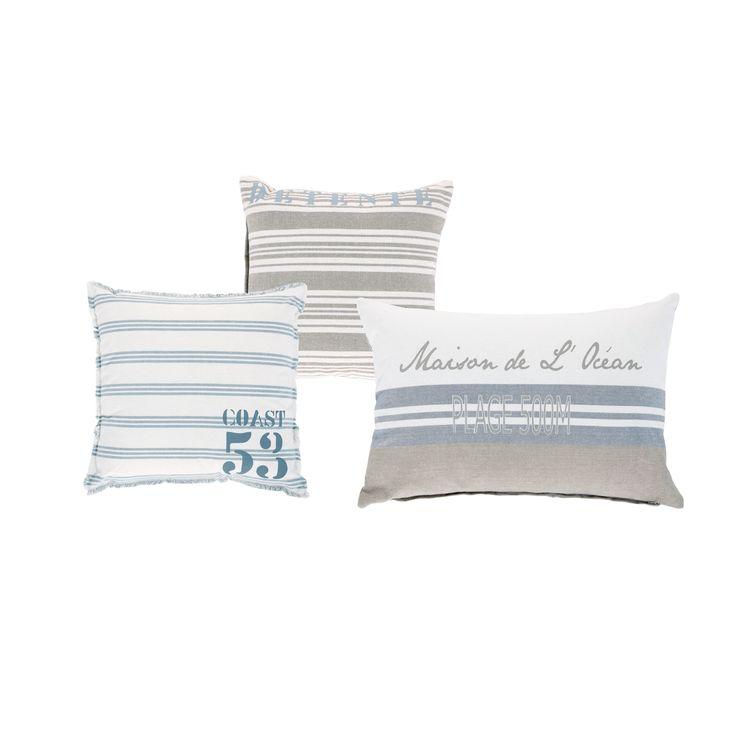 3 ecru en blauwe katoenen BROCANTE DE LA MER kussens 30 x 30 cm à 50 x 50 cm