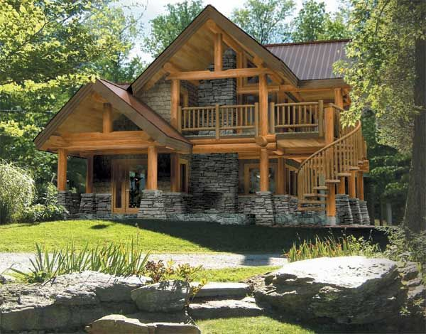 6713 best mountain cabin images on pinterest for Log and stone house plans