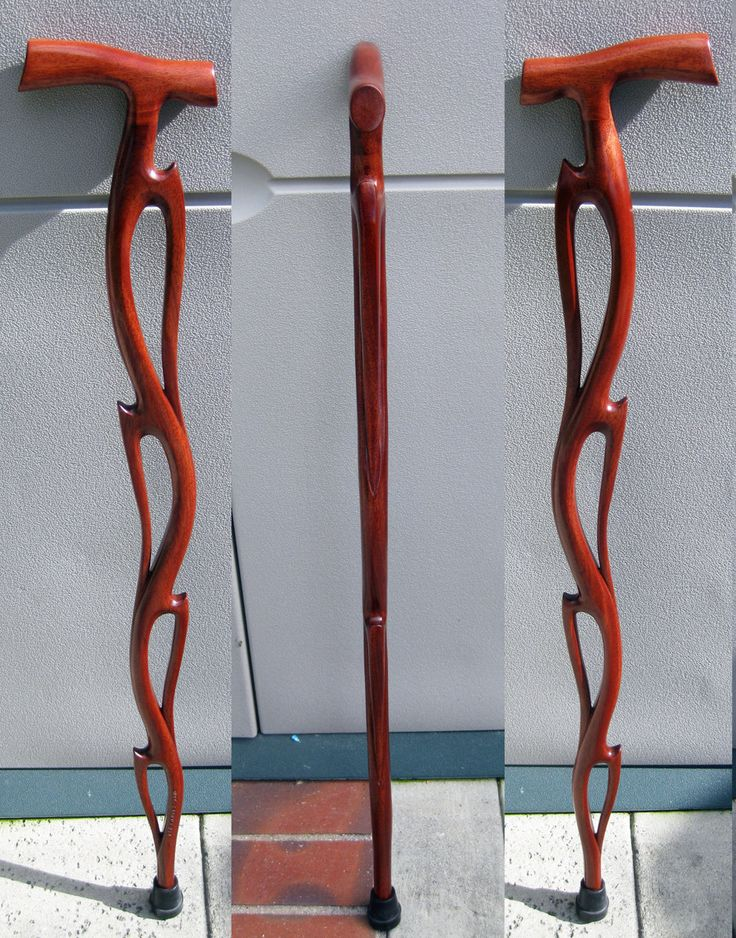 Flame Cane Cane Carved From African Mahogany Wood