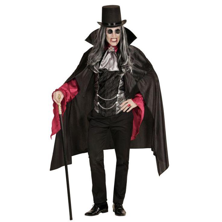Ce déguisement de vampire pour homme comprend chemise avec gilet, jabot avec médaillon, cape. Disponible en taille unique (M/L). Le gilet est de couleur noir et argent, il dispose sur le ventre de deux chaînes dans le style victorien. La chemise possède d