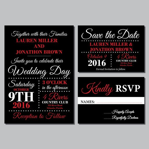 Red and Black Wedding Invitations, Printable Wedding Invitation Suite, formal…