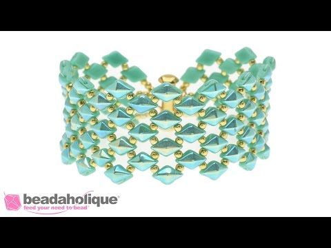 How to Bead Weave the DiamonDuo Fish Scales Bracelet - YouTube