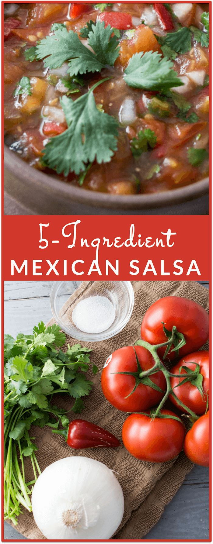 This is an authentic Mexican salsa that's healthy and made from scratch. Even better, it only has 5 ingredients and is super easy to prep and make. This is a recipe that I got from my mom, who learned how to make salsa from her former neighbor who was from Mexico. It is my favorite salsa to date, and tastes fresher and better than the ones I get in restaurants!