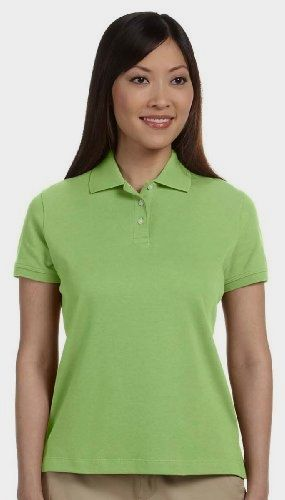 #Devon & #Jones Women's Solid Perfect Polo Shirt, XX-Large, Willow Made by #Devon & Jones Color #Willow. Three-button placket with Dura-Pearl�. Comfort of luxurious Pima cotton. buttons. Gently shaped, feminine fit