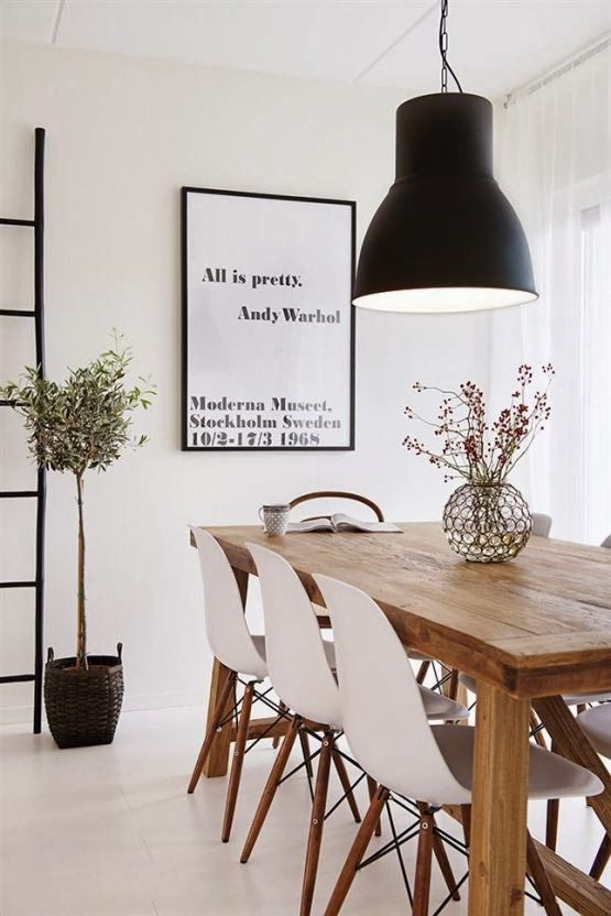 A simple wooden table and 6 DSW's make for the perfect dining room set-up :-) http://www.nest.co.uk/search/vitra-dsw-eames-plastic-side-chair Image via The Design Chaser.