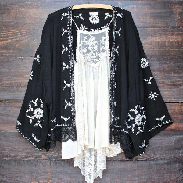 boho embroidered kimono jacket - black