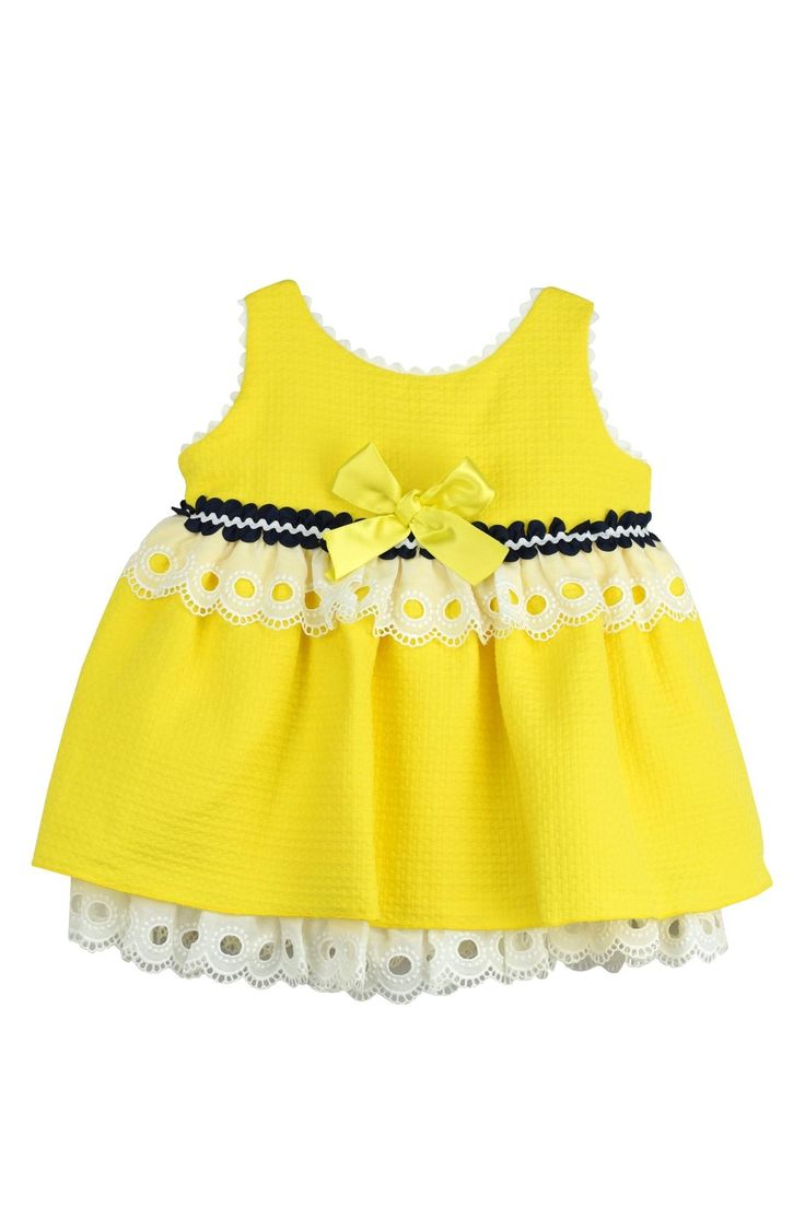 cesar blanco Yellow & Lace Dress - Main Image