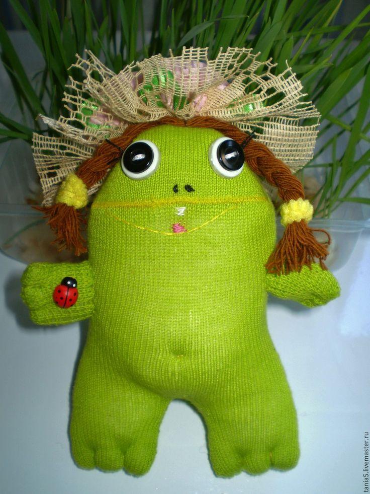 Купить Игрушка лягушка Мадамишна - ярко-зелёный, лягушонок, подарок на любой случай, забавный подарок