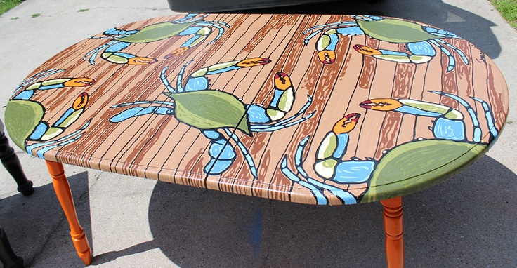 Chesapeake Blue Crab Texture Painting on a re-done wooden kitchen table.
