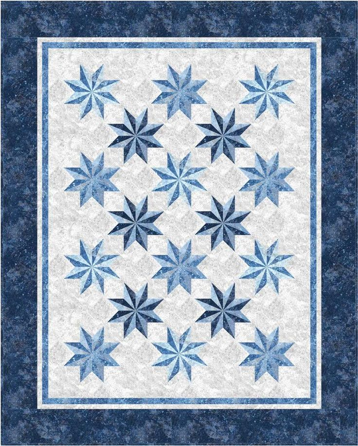 Intermediate Quilting Patterns : Prism Stars Quilt Pattern PC-132 (intermediate, lap, throw, twin, queen) features Northcott s ...