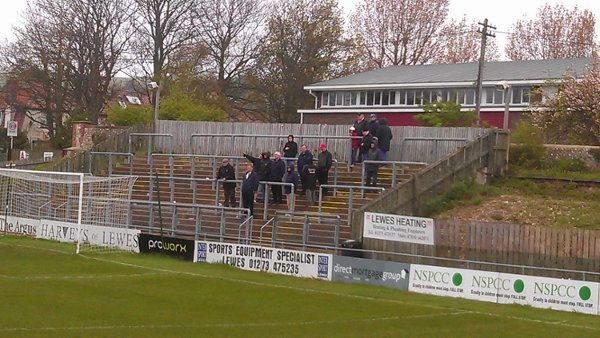 An intrepid group of Harrow Borough fans follow their team away at Lewes