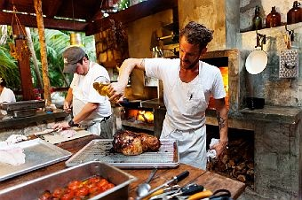 eric werner and mya henry - chef and restaraunt owners  at the valladolid farmers market and at their restaraunt hartwood - tulum mexico