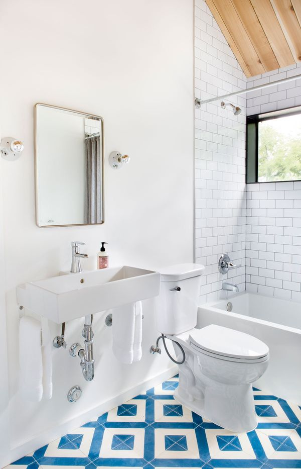 Blue And White Patterned Tile Floor In This Bathroom Design | Claire  Zinnecker Design Part 41