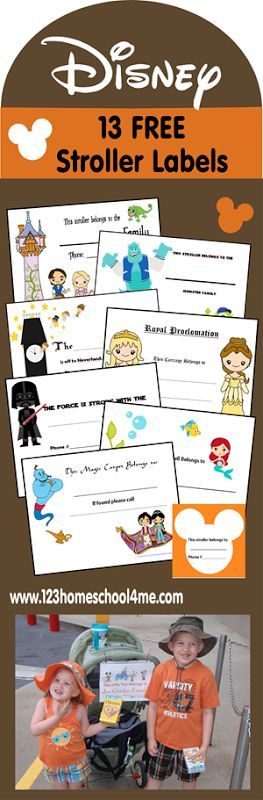 13 FREE Disney World Stroller Labels. Keep track of your stroller that may look like a buch of others at the park.  | Disney Vacation | Disney Vacation Tips | Disney Planning Tips | Disney World Planning |