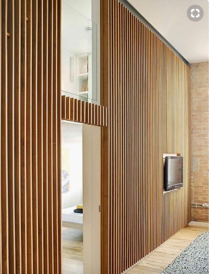 Horizontale Holzlattenwand Sog Grillwand Auf Bestehender Wand Workspot Muren Wandverkleidung Holz Holz Wohnzimmer Wandverkleidung