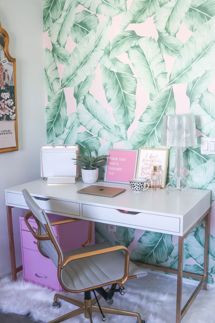 Blogger Office   Palm Print Wall   Pink Office   Palm Print Decor   Blog Office   White and Gold Desk   PB Teen