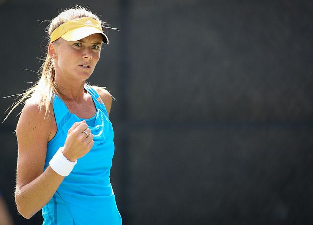 Daniela Hantuchova fists pump after winning a point!