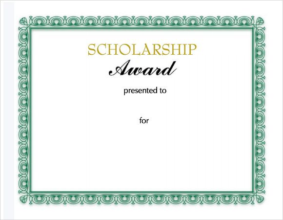 11 Scholarship Certificate Templates Certificate